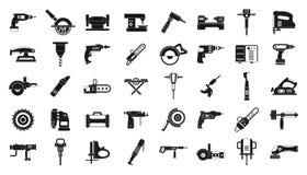 Elkraften bearbetar symbolsuppsättningen, enkel stil stock illustrationer