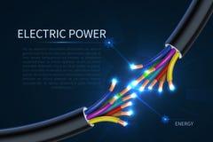 Elkraftkablar, elektriska trådar för energi gör sammandrag industriell vektorbakgrund royaltyfri illustrationer