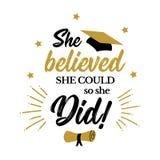 Ella creyó que ella podría ella hizo tan al graduado de los congrats stock de ilustración