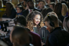 Ella Eyre. Being interviewed outside the Leeds First Direct Arena Royalty Free Stock Images