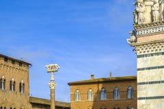 Ella-lobo con Romulus y Remus delante del Duomo de Siena Foto de archivo libre de regalías