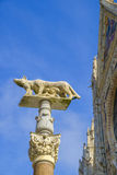 Ella-lobo con Romulus y Remus delante del Duomo de Siena Fotografía de archivo libre de regalías