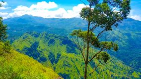 Ella rock tourist attraction place sri lanka with green and blue mountains royalty free stock photo