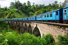 Ella Sri lanka, April 08 2018: train on the Nine Arch Bridge in Ella Stock Photo