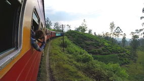 ELLA, SRI LANKA - MARCH 2014: View of Sri Lankan landscape from moving train. stock footage