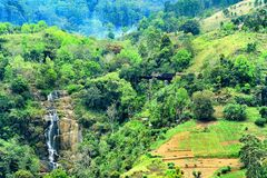 Ella, Sri Lanka. This is a shot from mountain of Ella, Sri Lanka  this is breathtaking view  you can see waterfall and old train crossing bridge Royalty Free Stock Images
