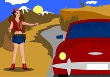 Ella viaja, vio el coche y aumentó su mano para parar, que fue plantada ilustración del vector