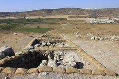 Ellah和考古学谷运作在Judeia小山的Tel Sokho或Tel Suqo 库存照片
