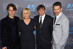 Ellar Coltrane & Patricia Arquette & Richard Linklater & Ethan Hawke. LOS ANGELES, CA - JANUARY 15, 2015: Boyhood stars Ellar Coltrane (left), Patricia Arquette Stock Image