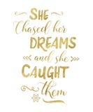 Elle a chassé ses rêves et elle les a attrapés Image libre de droits