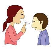 Elle crie, il est silencieuse ! Photographie stock libre de droits
