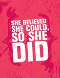 Elle a cru qu'elle pourrait, ainsi elle a fait Calibre créatif de inspiration d'affiche de citation de motivation Bannière de typ illustration stock