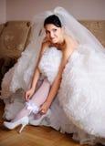 Elle est une jeune mariée aujourd'hui Image libre de droits