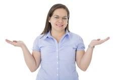 Elle ont une chose sur le dessus de ses mains Images stock
