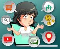 Elle parle aux avantages d'Internet illustration libre de droits