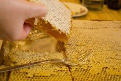 Elle prend le miel Photos libres de droits
