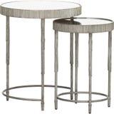 """Elle-Runden-Marmor-Nest von drei Tabellen, 2-teiliger Beistelltisch-Satz Dornley, Sibyl Coffee Table-†""""Runde mit weißem Hinterg lizenzfreie stockfotografie"""