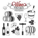 Ellegant wine set of vintage elements isolated on Stock Photo