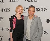 Ellen Barkin and Joe Mantello. Film and stage actress Ellen Barkin and actor Joe Mantello arrive at the 65th Annual Tony Awards Meet the Nominees Press Junket at Stock Images