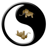Ellephant yang yin Royalty-vrije Stock Foto's