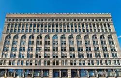 Ellicott fyrkantig byggnad, ett historiskt kontorskomplex som avslutas i 1896 Buffel - New York royaltyfri fotografi