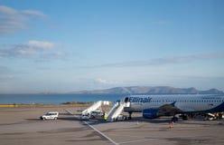 Ellinair plane loading cargo in heraklion crete preparing to depart stock images