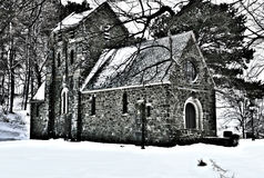 Ellingwood Chapel, a Gothic Revival structure built in 1920. Located in Nahant Massachusetts.Shownhereafterasnowstorm royalty free stock images