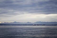 Elliot Bay panorama. Panorama of Mount Rainier from Elliot Bay Royalty Free Stock Photo