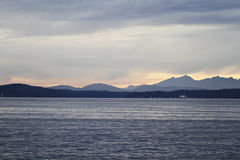 Elliot Bay panorama. Panorama of Olympic Mountains from Elliot Bay Royalty Free Stock Photo