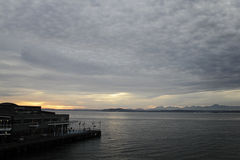 Elliot Bay panorama. Panorama of Olympic mountains from Elliot Bay Royalty Free Stock Images