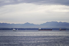 Elliot Bay panorama. Panorama of Olympic mountains from Elliot Bay Stock Photos