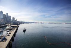 Elliot Bay Port of Seattle. Early Sunday morning in Elliot Bay, Seattle, Washington stock photography