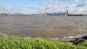Elliott Bay, Downtown Seattle Skyline dolly shot stock footage