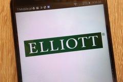 Elliott Management Corporation商标在一个现代智能手机显示了 库存图片