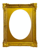 Ellipse gold picture frame. Isolated over white background stock images