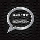 Ellipse silver speech bubbles for message on dark Stock Image