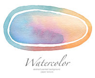 Ellipse watercolor painted background. Paper texture royalty free stock image