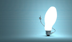 Ellipsoidal light bulb character in aha moment Royalty Free Stock Photography