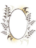 Elliptic floral frame. Designed in brown and orange colors on the white background Stock Image