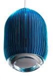 Elliptic metal blue hanging lamp isolated on white. Modern designer lamp for interiors. Elliptic metal blue hanging lamp isolated on white. Modern designer lamp Royalty Free Stock Image