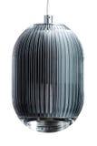Elliptic metal gray hanging lamp isolated on white. Modern designer lamp for interiors. Elliptic metal gray hanging lamp isolated on white. Modern designer lamp Royalty Free Stock Photos