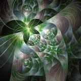 Elliptic Split Organic Fractal. Green to white Elliptic fractal with smooth blur Stock Photos