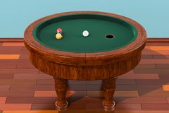 Elliptical billiard table with balls in room on the wooden floor. Elliptical billiards table with balls in room on the wooden floor, 3D Stock Photography
