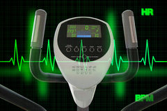 Elliptical Machine for Exercising with Heart Beat Diagram or Car. Concept of healthy lifestyle illustrated by elliptical machine for exercising and heart beat stock photography