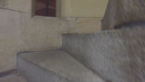 Elliptical medieval stone staircase stock video footage