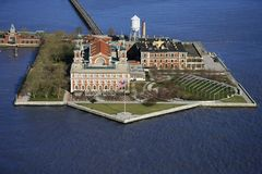 Ellis Island. Aerial view of Ellis Island, New York City Stock Photo