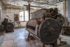 Laundry in ellis island abandoned psychiatric hospital interior rooms Stock Photos