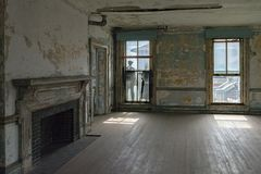 Ellis island abandoned psychiatric hospital interior rooms. View Royalty Free Stock Photography