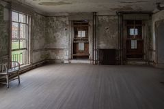 Ellis island abandoned psychiatric hospital interior rooms Stock Photography