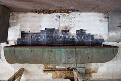 The ship in ellis island abandoned psychiatric hospital interior rooms Stock Images